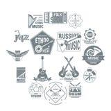 Icônes de logo d'instruments de musique réglées, style simple Photographie stock libre de droits