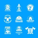 Icônes de logo de pompier réglées, style plat illustration stock