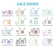 Icônes de méthodes de laçage de chaussure réglées illustration libre de droits