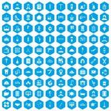 100 icônes de métier réglées bleues illustration stock