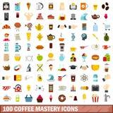 100 icônes de maîtrise de café réglées, style plat illustration de vecteur
