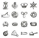 Icônes de marine à main levée Image stock