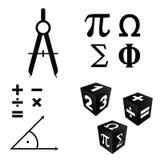Icônes de maths réglées dans l'illustration de couleur noire Photographie stock libre de droits