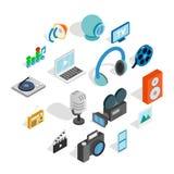 Icônes de media réglées, style 3d isométrique illustration stock