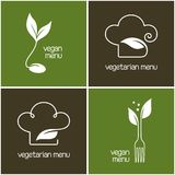 Icônes de menu de végétarien et de vegan Photographie stock libre de droits