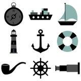 Icônes de mer réglées Images stock