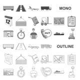 Icônes de monochrom de service de logistique dans la collection réglée pour la conception Web d'actions de symbole de logistique  illustration de vecteur