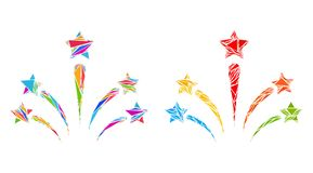 Icônes de mosaïque de feux d'artifice d'étoile de salut de triangle illustration de vecteur
