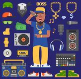 Icônes de musicien d'homme de vecteur de raper d'houblon de hanche avec le portrait expressif d'artiste rap de smurf de microphon illustration libre de droits