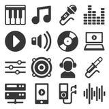 Icônes de musique réglées sur le fond blanc Vecteur Photos stock