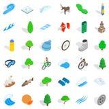 Icônes de nature de camp réglées, style isométrique Photographie stock libre de droits