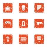 Icônes de Netmask réglées, style grunge Photographie stock libre de droits