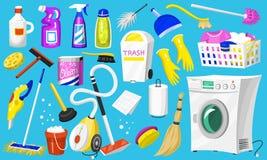 Icônes de nettoyage Placez des outils de maison ou de pièce pour l'affiche Machine à laver, détergents détergent, seau d'eau pour illustration libre de droits