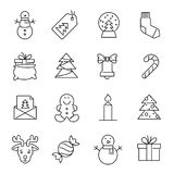 Icônes de Noël - arbre, bonhomme de neige et cadeaux de Noël illustration de vecteur