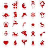 icônes de Noël de collection avec la réflexion illustration stock