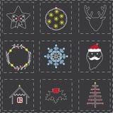 Icônes de Noël dans le style mélangé du boho et des lignes minces Photographie stock