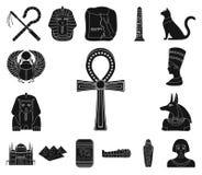 Icônes de noir d'Egypte antique dans la collection d'ensemble pour la conception Le règne de l'illustration de Web d'actions de s illustration libre de droits