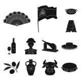 Icônes de noir de pays de l'Espagne dans la collection d'ensemble pour la conception Le voyage et les attractions dirigent l'illu Photo libre de droits