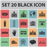 Icônes de noir de réparation de bâtiment dans la collection d'ensemble pour la conception Le matériau et les outils de constructi Photos libres de droits