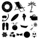 Icônes de noir de repos d'été dans la collection d'ensemble pour la conception Illustration accessoire de Web d'actions de symbol Image libre de droits