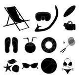 Icônes de noir de repos d'été dans la collection d'ensemble pour la conception Illustration accessoire de Web d'actions de symbol Photos stock