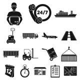 Icônes de noir de service de logistique dans la collection d'ensemble pour la conception La logistique et l'équipement dirigent l Images libres de droits