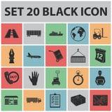 Icônes de noir de service de logistique dans la collection d'ensemble pour la conception La logistique et l'équipement dirigent l Image stock