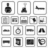 Icônes de noir de service de logistique dans la collection d'ensemble pour la conception La logistique et l'équipement dirigent l Photo stock