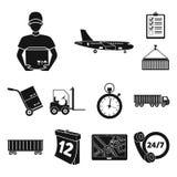 Icônes de noir de service de logistique dans la collection d'ensemble pour la conception La logistique et l'équipement dirigent l Illustration Libre de Droits
