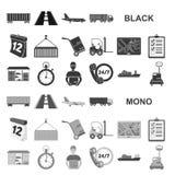 Icônes de noir de service de logistique dans la collection d'ensemble pour la conception La logistique et l'équipement dirigent l illustration de vecteur