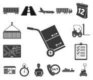 Icônes de noir de service de logistique dans la collection d'ensemble pour la conception La logistique et l'équipement dirigent l illustration stock