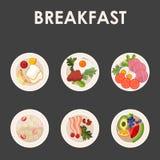 Icônes de nourriture et de boissons d'éléments de conception de menu de restaurant Plat moderne Illustration Libre de Droits