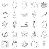 Icônes de nourriture de régime réglées, style d'ensemble Photographie stock libre de droits