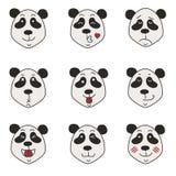 Icônes de panda réglées d'isolement sur le blanc Photographie stock libre de droits