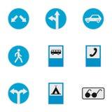 Icônes de panneau routier réglées, style plat Photographie stock