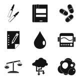 Icônes de pharmacien réglées, style simple Photo stock
