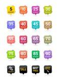 Icônes de place de remise de vente Signes des prix d'offre spéciale De 5 à 90 pour cent outre des symboles de réduction Insignes  illustration stock