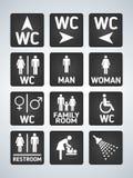 Icônes de plat de porte de toilette de carte de travail réglées Signe de carte de travail d'hommes et de femmes pour des toilette illustration libre de droits