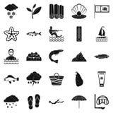 Icônes de plongée réglées, style simple illustration stock