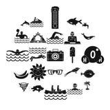 Icônes de plongeon réglées, style simple illustration de vecteur