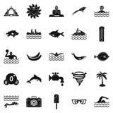 Icônes de plongeon réglées, style simple illustration libre de droits
