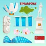 Icônes de points de repère réglées de Singapour Isolat culturel d'objets de bande dessinée sur le blanc illustration libre de droits