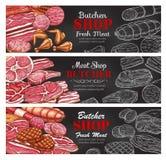Icônes de produits de boucher de saucisses de viande de croquis de vecteur illustration de vecteur