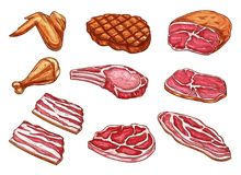 Icônes de produits de boucher de viande de croquis de vecteur Photos libres de droits