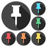Icônes de punaise - attache, marque, concept de bureau illustration de vecteur