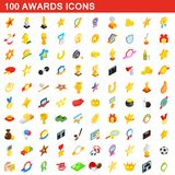 100 icônes de récompenses réglées, style 3d isométrique illustration stock