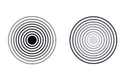 Icônes de radar de vecteur, cercles monochromes, illustrations d'isolement illustration libre de droits
