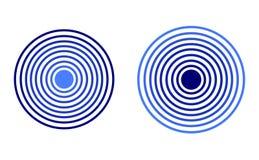 Icônes de radar de vecteur, couleurs bleues, illustrations d'isolement illustration libre de droits