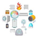 Icônes de refroidissement de chauffage réglées, style de bande dessinée illustration de vecteur