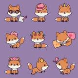 9 icônes de renards de kawaii réglées Photo stock
